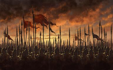 Medieval army battle - digital illustration
