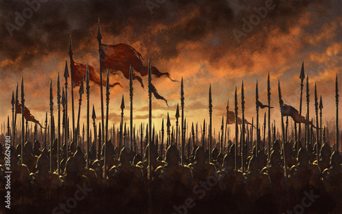 Fotografia Medieval army battle - digital illustration