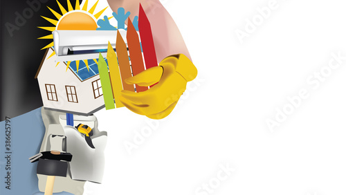 Obraz construction worker with house in need of renovation - fototapety do salonu