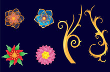 Set Gold Flower With Various Color