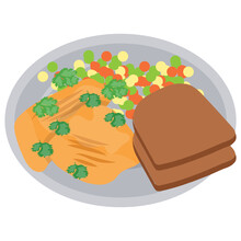 A Healthy Weight Watcher Diet Is Depicted Here By Showing Brown Bread Along With Some Veggies And Butter