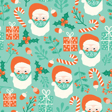 Corona Christmas Seamless Vector Pattern. Santa Claus Wearing A Protective Face Mask Against Coronavirus Background. Merry Christmas 2020 During Pandemic. Santa Head, Gift, Mistletoes, Candy Cane