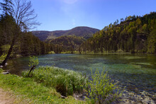 Lake Schiederweiher Near Hinterstoder In Front Of The Mountains Grosser Priel And Spitzmauer, Totes Gebirge, Upper Austria