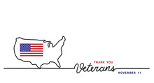Thank You Veterans Simple Vector Banner, Poster, Background With Flag And Usa Map. Single Line Art Illustration With Lettering Veterans.