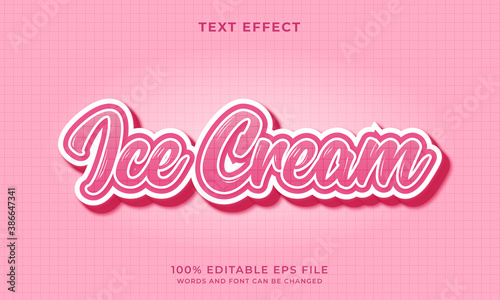 Fotografia Ice cream text style - Editable text effect