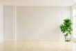 Leinwandbild Motiv White plaster wall empty room with plants on a floor.