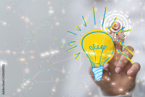 idea lamp digital innovation 3d - 386661902