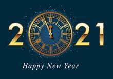 Carte De Vœux Représentant Le Cadrant De L'horloge De Big-Ben, Symbole De Londres Et De L'élégance Britannique, Juste Avant Les 12 Coups De Minuit.