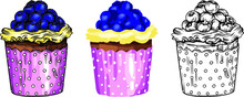 Vector Illustration. Sweet Pastries, Delicious Cakes, Bright Colors And Juicy Details. Cakes, Muffins, Desserts, Cream, Berries And Fruty.
