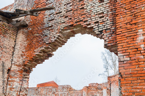 Photo Ruined walls of an old glass factory of the 19th century, built in the Baroque s