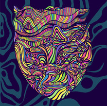 Psychedelic Trippy Bright Anthropomorphic Face Shaman, Consisting Of Many Patterns In The Form Of Ammonites, Isolated On Dark Blue Background Of Patterns.
