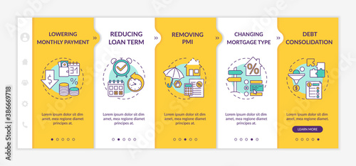 Obraz Mortgage borrowing advantages onboarding vector template. Lowering monthly payment. Removing PMI. Responsive mobile website with icons. Webpage walkthrough step screens. RGB color concept - fototapety do salonu