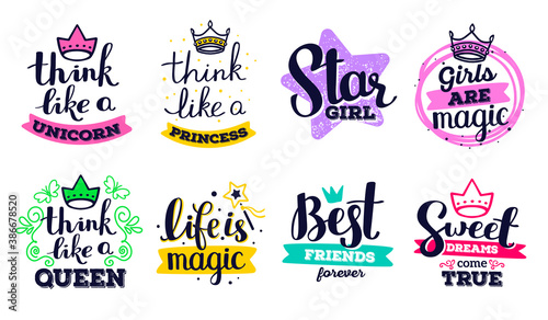 Collection of beautiful vector girly handwritten inscription with color decorative element on white background. Label set with calligraphic text. #386678520