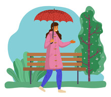 Happy Girl In Pink Raincoat An...