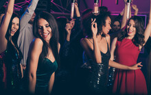 Photo Of Young Beautiful Girls Dancing On Party In Night Club Wearing Classy Stylish Dresses Smiling Relaxing Together