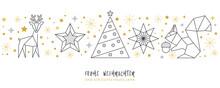 Weihnachtskarte Deko Silber - Rentier, Stern Weihnachtsbaum Und Eichhörnchen