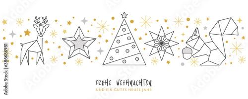 Photo Weihnachtskarte Deko silber - Rentier, Stern Weihnachtsbaum und Eichhörnchen