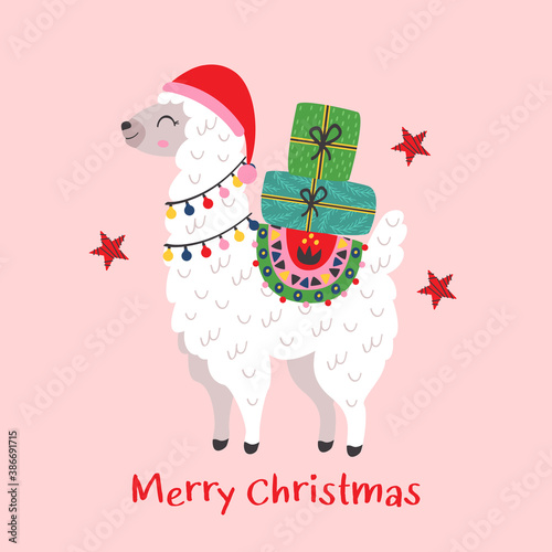Naklejka premium Christmas card with cute llama