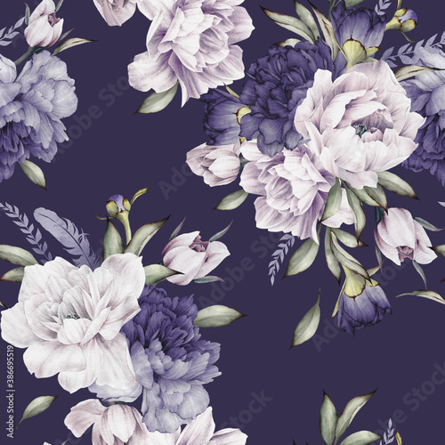 Obraz Kwiatowy wzór na fioletowym tle - fototapety do salonu