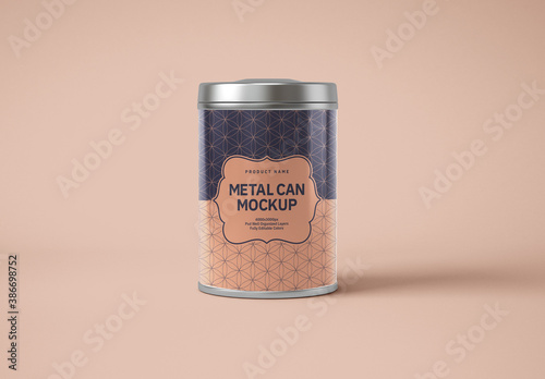 Glossy Metal Cylinder Tin Can Mockup