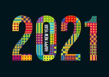 Carte De Vœux 2021 Multicolore Pour Souhaiter Ses Vœux Pour La Nouvelle Année.