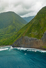 Aerial View Of The Dramatic Valley And Mountainside Of The Hawaiian Island Of Molokai