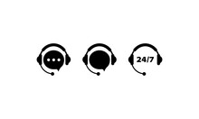 Call Center Service Icon Set In Black. Support Assistant. Operator. Vector On Isolated White Background. EPS 10