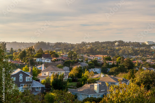 Fototapeta Valley homes panoramic view in Belmont, San Mateo County, California