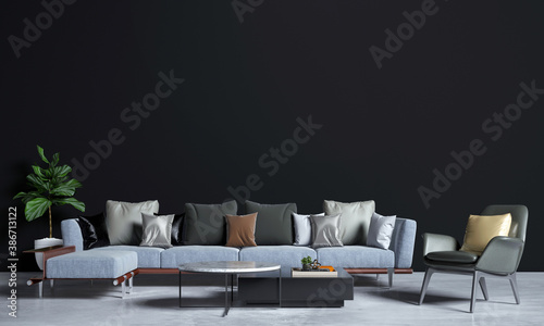 Obraz Modern interior design and mock up furniture of living room and black wall texture background - fototapety do salonu