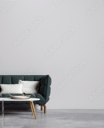 Obraz na plátně The interior design and mock up furniture of minimal living room and wall textur