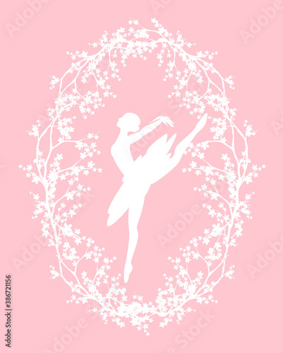 Canvas Print ballerina girl in oval frame made of sakura branches - spring season blossom and