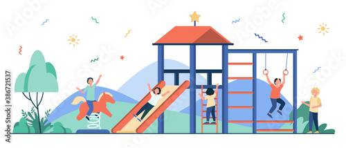 Happy children playing on playground with friends isolated flat vector illustration. Playful kids having fun, laughing and enjoying life. Childhood, playtime and summer activity concept