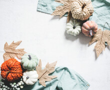 Fall Background With White Space And Pumpkin Border