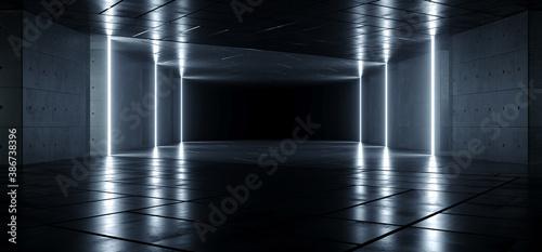 Obraz na plátně Neon Glowing Laser Electric Pillars Underground Sci Fi Concrete Cement Backgroun