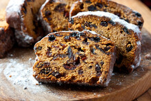 Traditional Raisins Cake For Christmas With   Dried Fruits