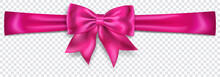 Beautiful Pink Bow With Horizontal Ribbon With Shadow On Transparent Background. Transparency Only In Vector Format