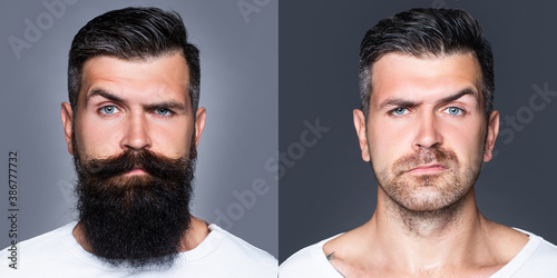 Fotografia, Obraz Bearded man with beard and mustache in barbershop