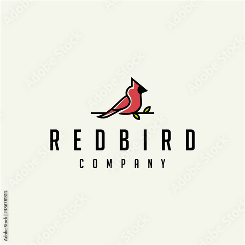 Foto Cardinal Bird Logo Design Illustration