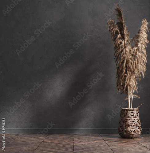 Obraz Modern industrial interior with pampas grass in basket, 3d render - fototapety do salonu