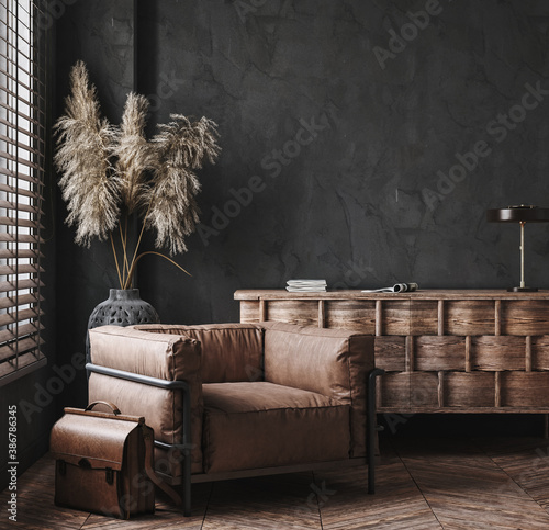 Modern industrial interior with leather furniture, luxury office, 3d render - 386786345
