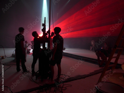 Fotografia Blurry image and out of focus : Behind the scenes of video shooting production c