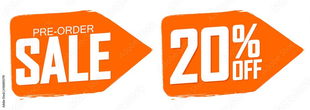 Fototapeta Pre-Order Sale banners design template, 20% off, discount tags, vector illustration