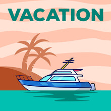 Yacht Vacation Poster Vector I...