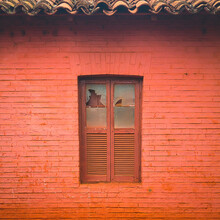 Old Wooden Window Shutters Of An Brazilian House, Vintage Background