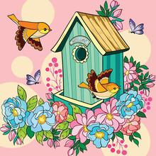 Birds Near The House Illustration