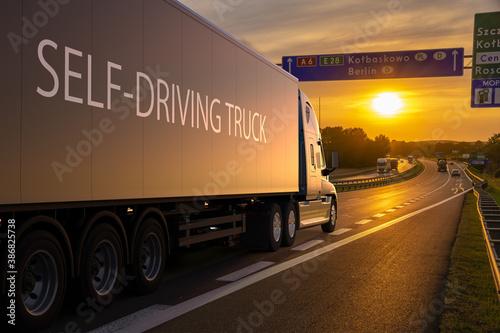 Obraz American truck in autonomous driving version - fototapety do salonu