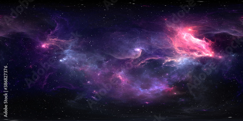Fototapeta 360 degree equirectangular projection space background with nebula and stars, environment map. HDRI spherical panorama obraz