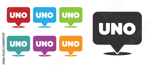 Fotografía Black Uno card game icon isolated on white background