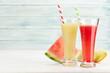 Leinwandbild Motiv Watermelon and melon smoothie