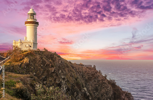 Billede på lærred Cape Byron lighthouse in New South Wales in Australia at dramatic sunset
